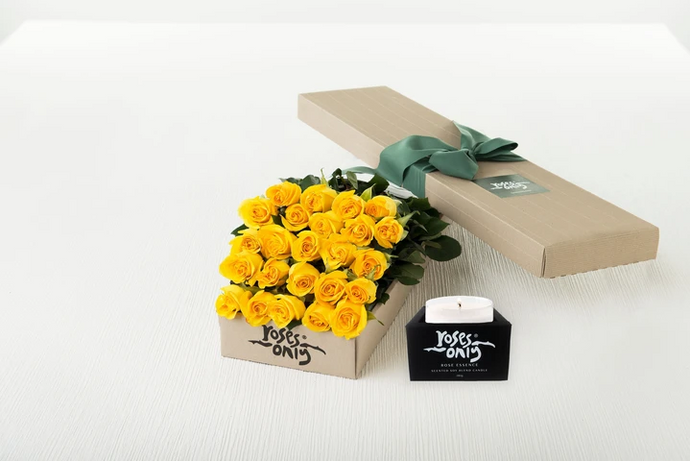 24 Yellow Roses Gift Box & Scented Candle