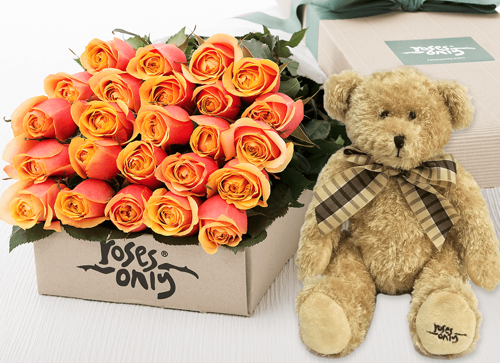 24 Cherry Brandy Roses Gift Box & Teddy Bear