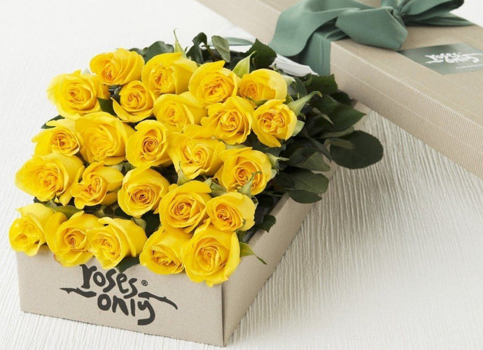 Mother's Day 24 Yellow Roses Gift Box
