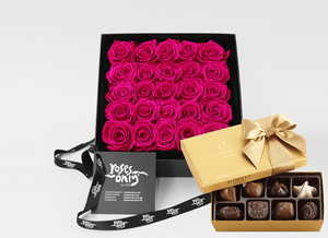 Mother's Day Stunning 25 bright pink infinity roses, beautifully presented in a black box & Gold Godiva Chocolates