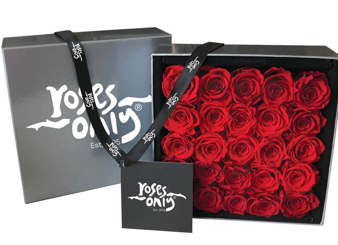 25 Valentines Red  Infinity Preserved Roses