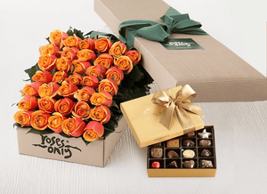 36 Cherry Brandy Roses Gift Box & Gold Godiva Chocolates