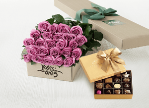 Mother's Day 36 Mauve Roses Gift Box & Gold Godiva Chocolates