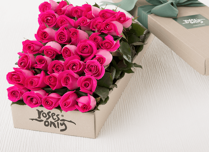 Mother's Day 36 Bright Pink Roses Gift Box