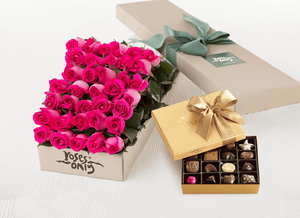 Mother's Day 36 Bright Pink Roses Gift Box & Gold Godiva Chocolates
