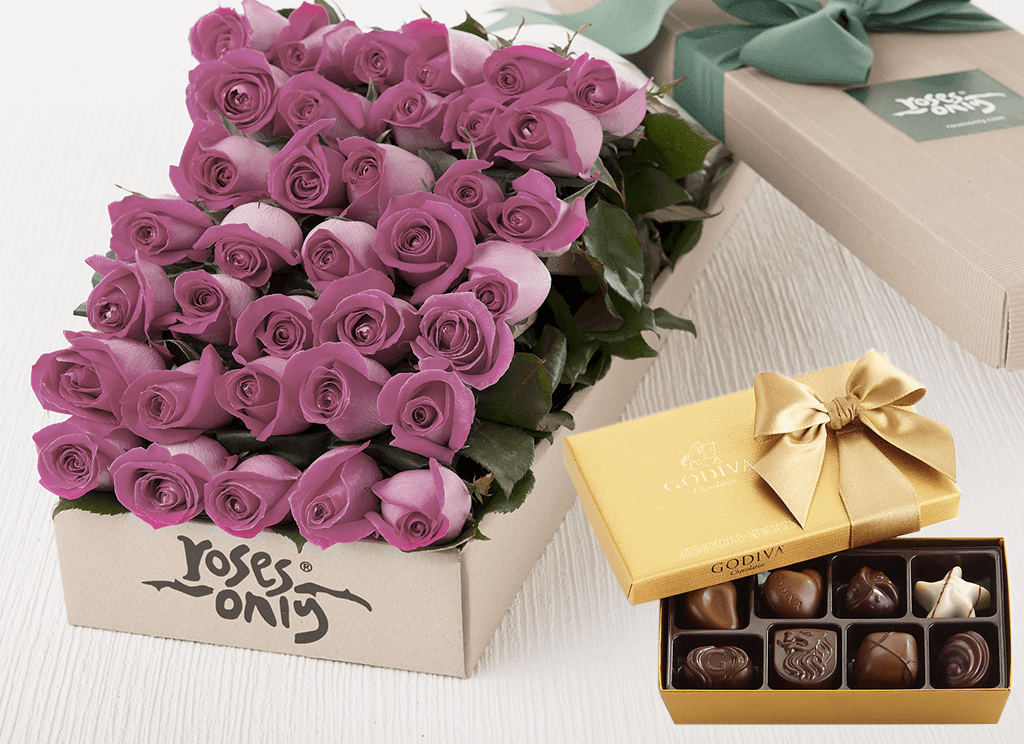 36 Mauve Roses Gift Box & Gold Godiva Chocolates