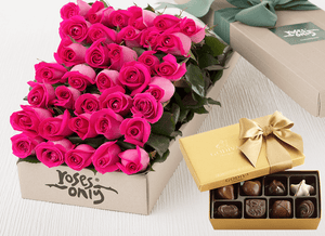 Bright Pink Roses Gift Box 36 & Godiva Chocolates