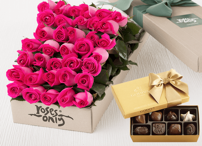 36 Bright Pink Roses Gift Box & Gold Godiva Chocolates