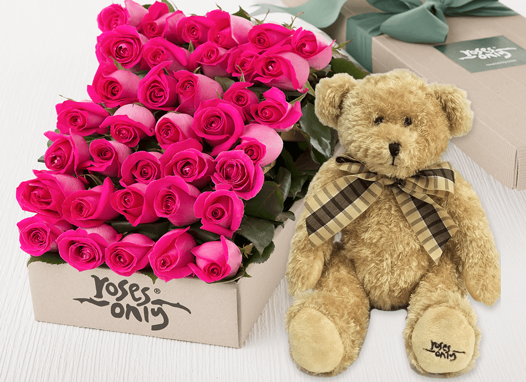 Bright Pink Roses Gift Box 36 & Teddy Bear