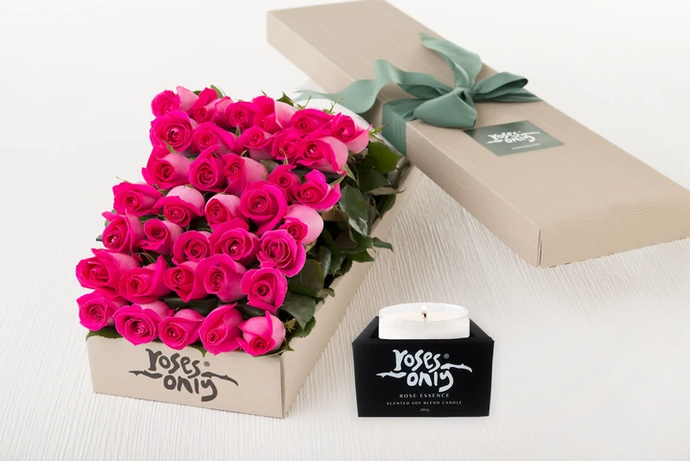 50 Bright Pink Roses Gift Box & Scented Candle
