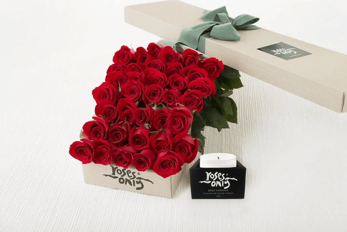 36 Red Roses Gift Box & Scented Candle