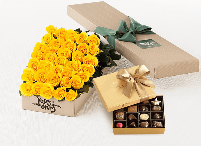 36 Yellow Roses Gift Box & Gold Godiva Chocolates