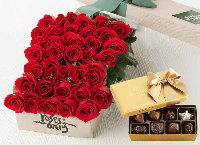 36 Red Roses Gift Box & Gold Godiva Chocolates