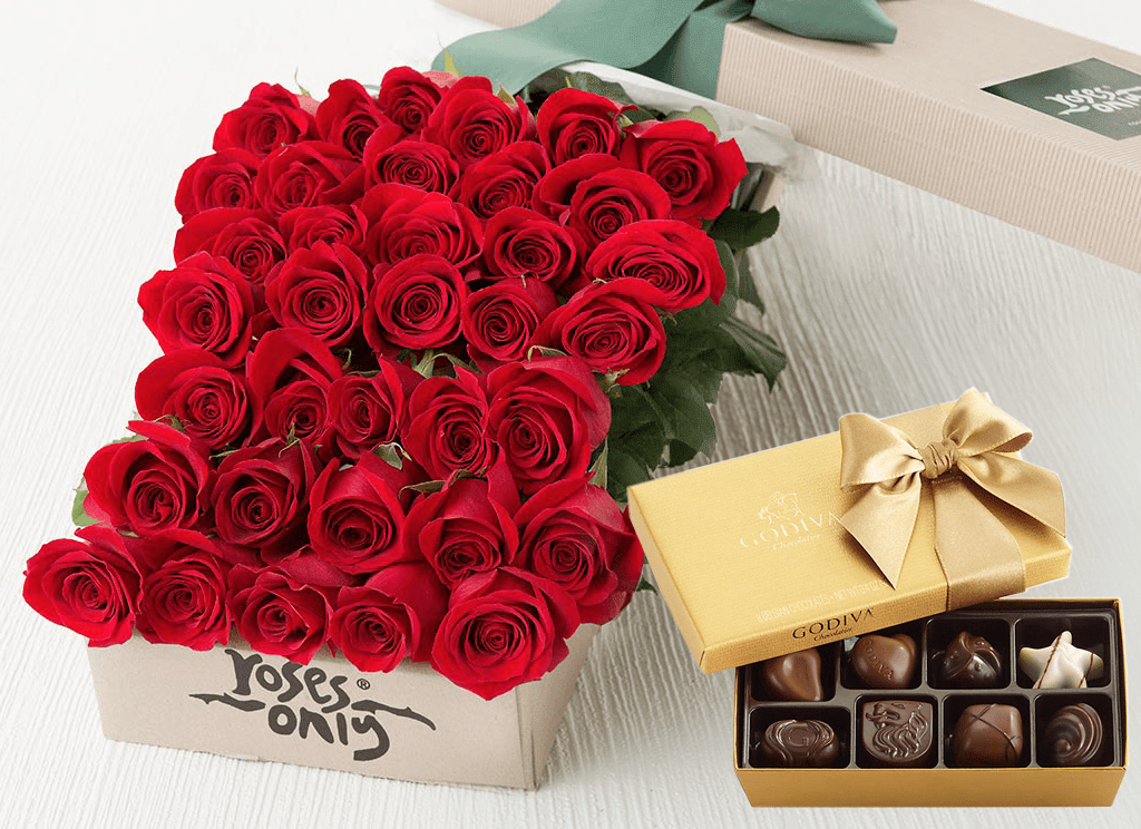 Mother's Day 36 Red Roses Gift Box & Gold Godiva Chocolates