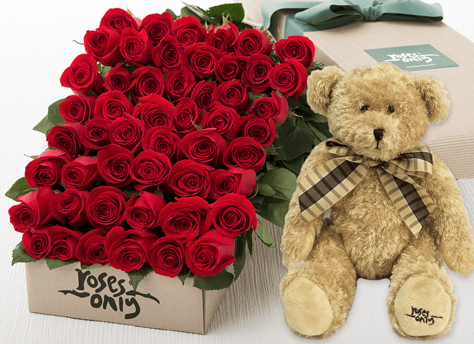 Red Roses gift Box 48 & Teddy Bear