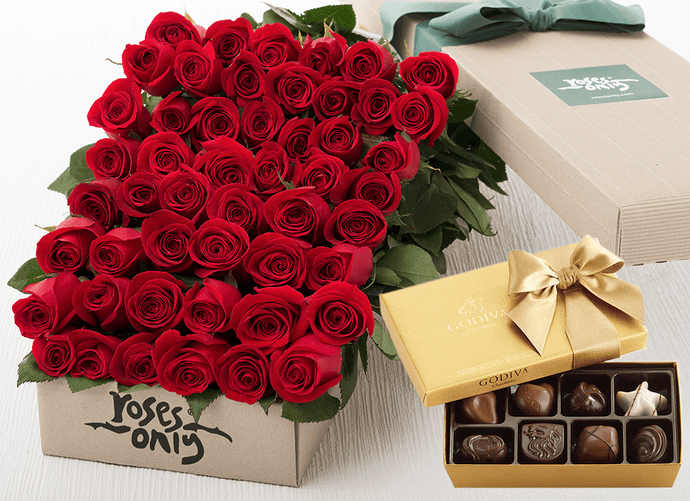 Red Roses Gift Box 48 & Godiva Chocolates