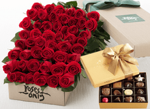 50 Red Roses Gift Box & Gold Godiva Chocolates