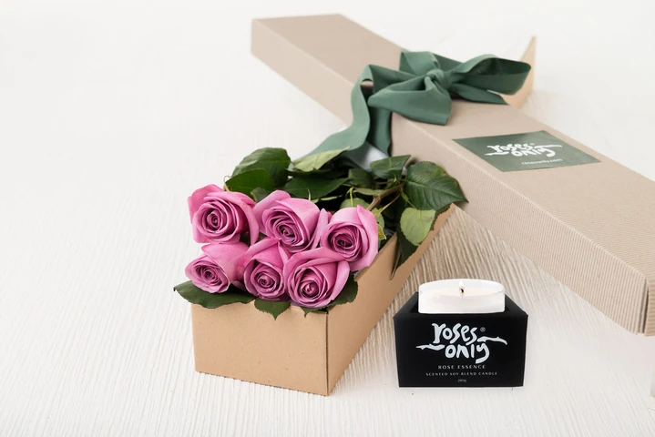 6 Mauve Roses Gift Box & Scented Candle