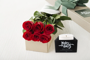 6 Red Roses Gift Box & Scented Candle