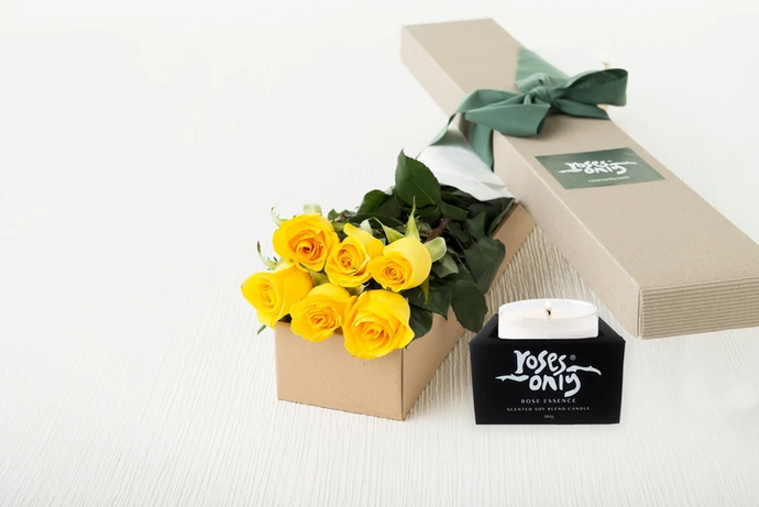 6 Yellow Roses Gift Box & Scented Candle