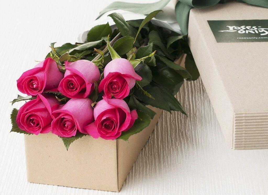 Beautiful roses hot pink flowers gift ideas for her 6 bright pink roses gift box mightylinksfo
