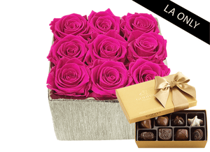 Mother's Day 9 Infinity year long bright pink roses & rose gold metallic vase & Godiva Chocolates