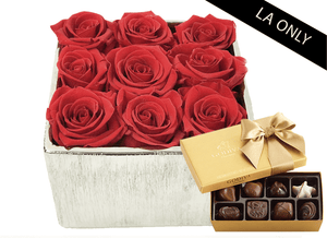 Mother's Day 9 Infinity year long red roses & silver metallic vase & Godiva Chocolates