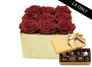 Mother's Day 9 Infinity year long red roses & yellow gold metallic vase & Godiva Chocolates