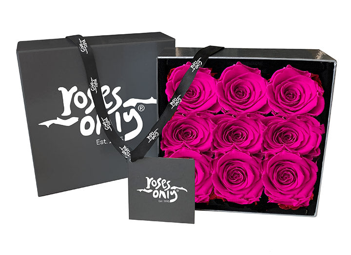 9 Bright Pink Infinity Preserved Roses