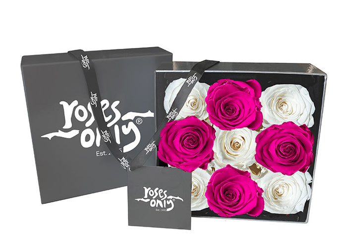 9 White & Pink Infinity Preserved Roses