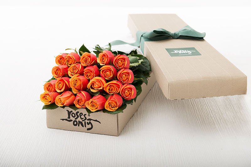 21 Cherry Brandy Roses Gift Box