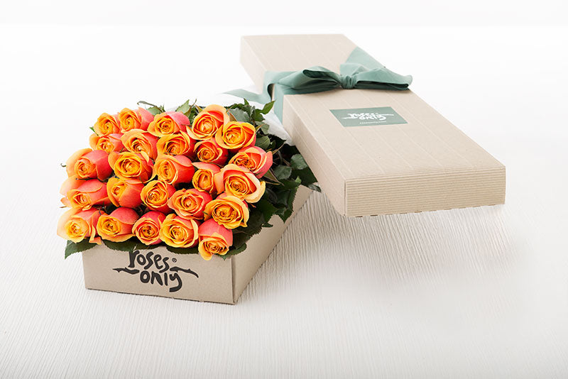 25 Cherry Brandy Roses Gift Box