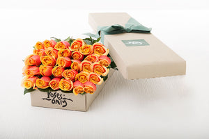 30 Cherry Brandy Roses Gift Box