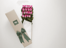 Gift Box With 18 Bright Pink Roses