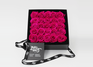 Mother's Day Stunning 25 bright pink infinity roses, beautifully presented in a black box