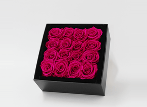 Mother's Day Stunning 16 bright pink infinity roses, beautifully presented in a black box