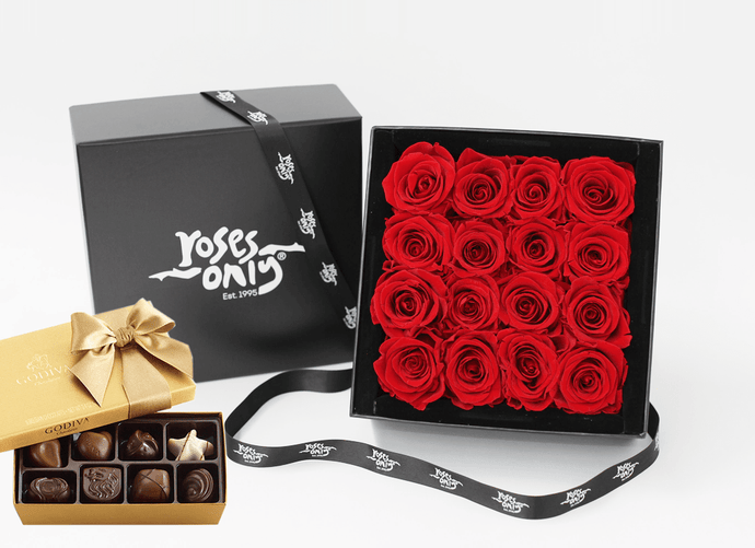16 Stunning red infinity roses, beautifully presented in a black box and Gold Godiva Chocolates