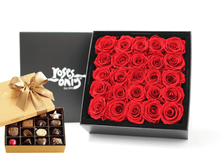 25 Stunning red infinity roses, beautifully presented in a black box and Gold Godiva Chocolates