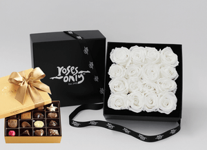 16 Stunning white cream infinity roses, beautifully presented in a black box and Gold Godiva Chocolates