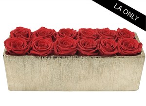 12 INFINITY YEAR LONG RED ROSES & ROSE GOLD METALLIC VASE