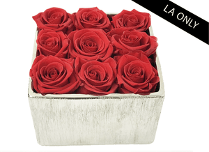 9 Infinity year long red roses & silver metallic vase