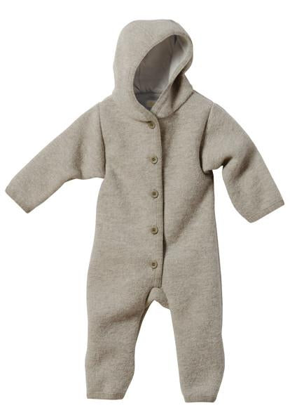 Boiled Wool Baby Overall | Grey Melange