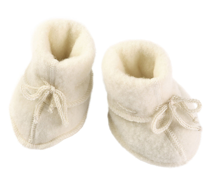 Wool Fleece Baby Booties | Natural