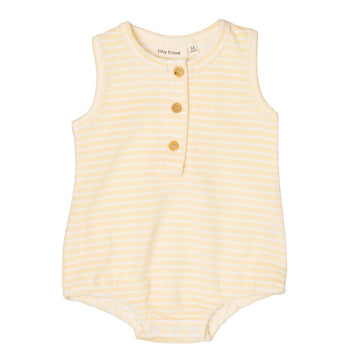 Uma Terry Towel Bodysuit | Lemon Stripe