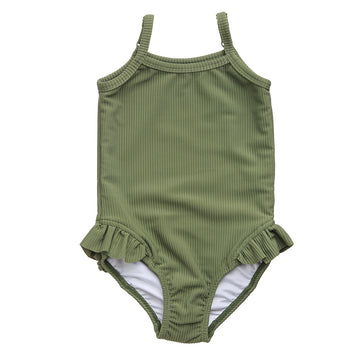 Ribbed One Piece Swimsuit | Olive