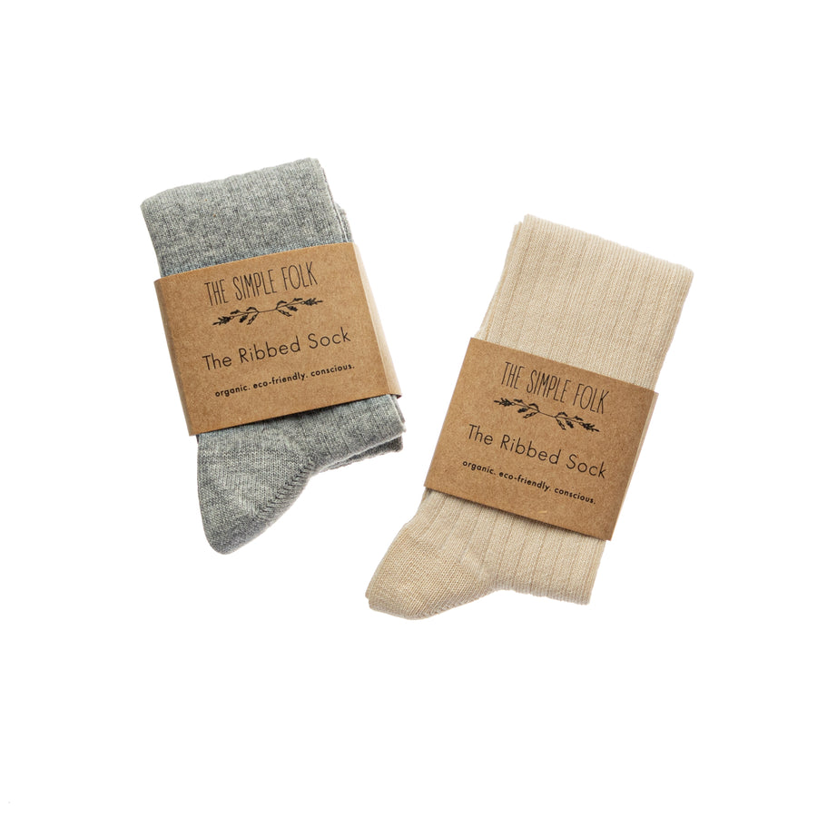 The Ribbed Socks | Grey Melange