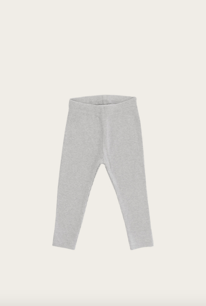 Essential Ribbed Leggings | Light Grey Marle