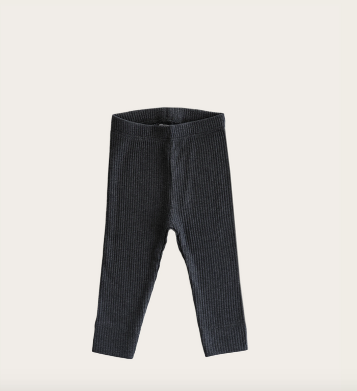 Essential Ribbed Leggings | Dark Grey Marle