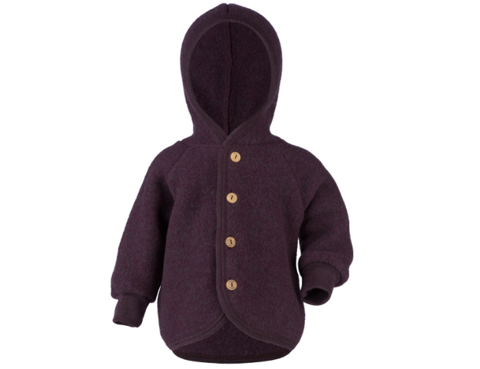 Wool Fleece Hooded Jacket | Eggplant