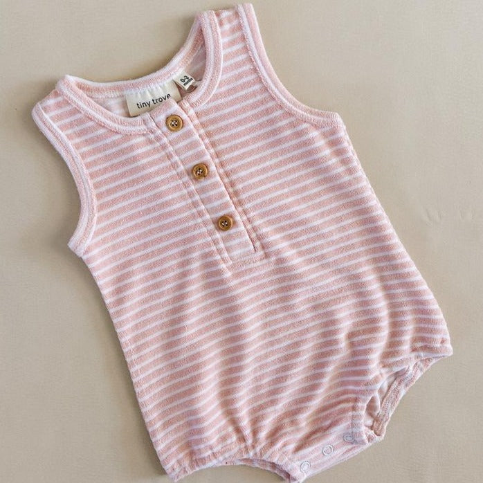 Uma Terry Towel Bodysuit | Pink Stripe